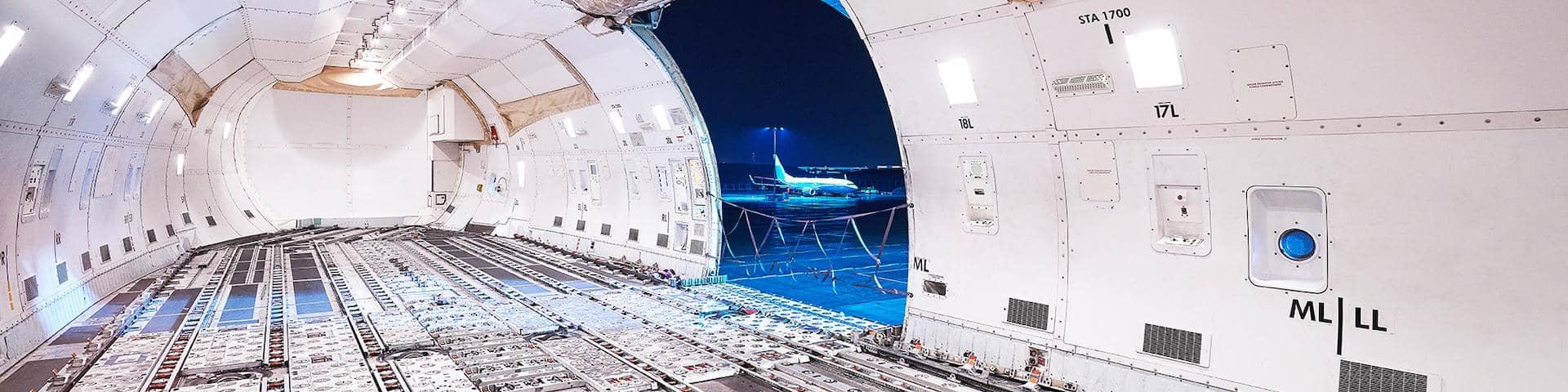 DB Schenker Air Freight Cargo IQ Inside Plane empty