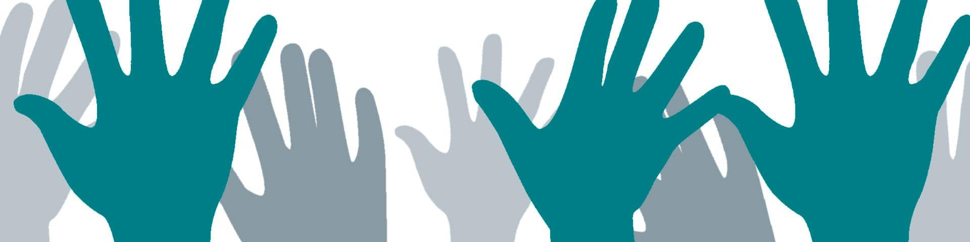 Hands blue grey
